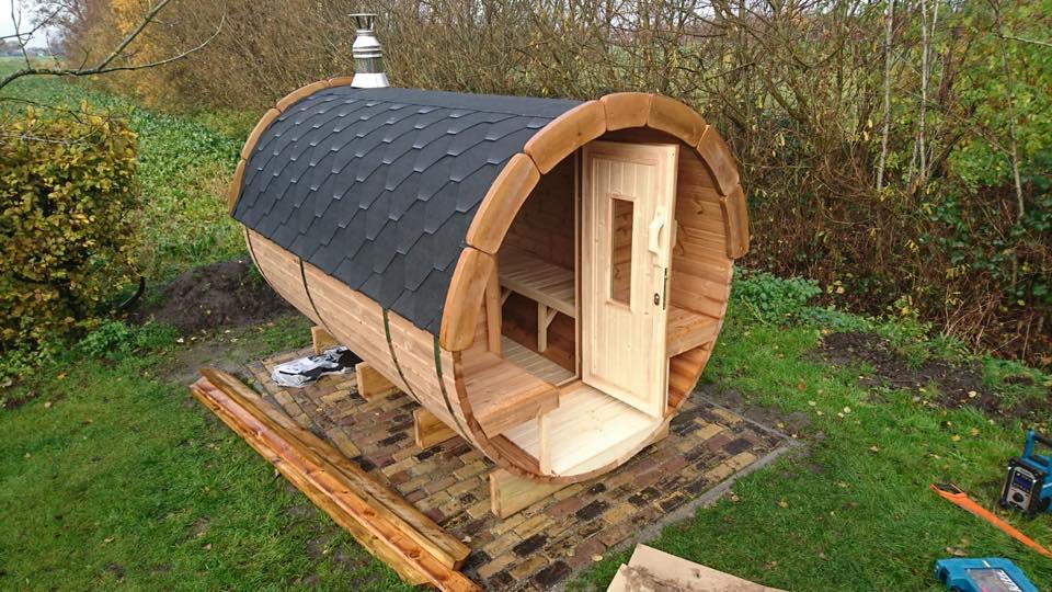 Barrel sauna geplaatst in Oldebroek - Rhodos.nl